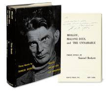 BECKETT, SAMUEL. Three Novels: Molloy, Malone Dies, and The Unnamable.