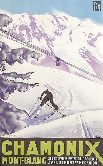 MAX PONTY (1904-1972). CHAMONIX / MONT BLANC. 1935. 39x24 inches. 99x61 cm. Agence Francaise de Propagande.