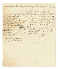 (AMERICAN REVOLUTION.) HANCOCK, JOHN. Autograph Letter Signed,