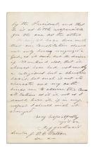 (CIVIL WAR.) DAVIS, JEFFERSON. Autograph Letter Signed, as President, to Senator John William Clark Watson,
