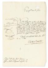 SAN MARTÍN, JOSÉ DE. Letter Signed,