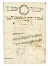 SANTA ANNA, ANTONIO LÓPEZ DE. Partly-printed Document Signed,