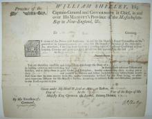 SHIRLEY, WILLIAM. Partly-printed Document Signed,