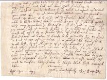 BAXTER, RICHARD. Fragment of an Autograph Letter Signed,
