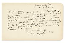 BELL, ALEXANDER GRAHAM. Autograph Letter Signed, to