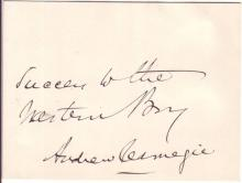 CARNEGIE, ANDREW. Autograph Inscription Signed: