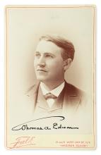 EDISON, THOMAS A. Photograph Signed, cabinet card bust portrait by Falk,