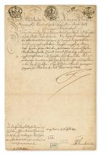 FRIEDRICH II; AND ELISABETH CHRISTINE; KING AND QUEEN OF PRUSSIA. Two items, each in German: Friedrich. Letter Signed,