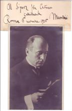 MUSSOLINI, BENITO. Autograph Inscription dated and Signed, as Head of Government, in Italian, on a slip of paper: