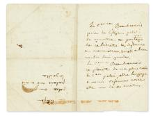 (NAPOLÉON.) BEAUHARNAIS, JOSÉPHINE DE. Autograph Note Signed, twice in the third person within the text (