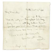 NELSON, HORATIO. Autograph Letter Signed, to Thomas Lloyd,
