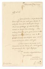 PITT, WILLIAM. Letter Signed,