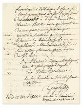 (SCIENTISTS.) GAY-LUSSAC, LOUIS JOSEPH. Autograph Letter Signed,