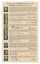 (SUPREME COURT.) Printed list of the biographies with thumbnail portraits of the 1965 Warren court, Signed by each member