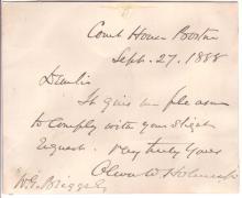 (SUPREME COURT.) HOLMES, OLIVER WENDELL; JR. Brief Autograph Letter Signed,