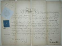 VICTORIA; QUEEN OF ENGLAND. Partly-printed Document Signed,