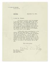 COOLIDGE, CALVIN. Typed Letter Signed, as President, to John A[ppleton] Stewart,