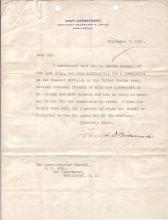 ROOSEVELT, FRANKLIN D. Typed Letter Signed, as Assistant Secretary of the Navy, to