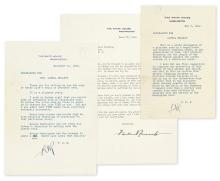 ROOSEVELT, FRANKLIN D. Group of three Typed Letters Signed,