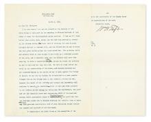 TAFT, WILLIAM HOWARD. Typed Letter Signed,