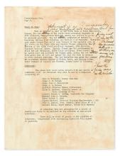 TRUMAN, HARRY S. Fragment of Typescript with holograph emendations and with an Autograph Note Signed,
