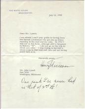 TRUMAN, HARRY S. Typed Letter Signed, as President, with 2-line holograph postscript, to John Lynch,