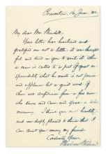 WILSON, WOODROW. Autograph Letter Signed, to fellow academic Barrett Wendell (