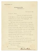 WILSON, WOODROW. Typed Letter Signed, to Life Editor Charles Dana Gibson,