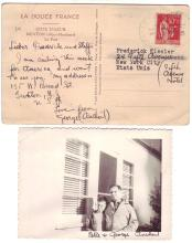ANTHEIL, GEORGE. Two items: Autograph Note Signed, to designer Frederick John Kiesler and wife, on a postcard * Photograph Signed.