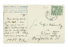 BERG, ALBAN. Brief Autograph Letter Signed,