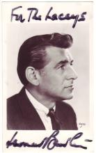 BERNSTEIN, LEONARD. Two items: Photograph Signed and Inscribed * Academy of Music 104th Anniversary Ball menu Signed.