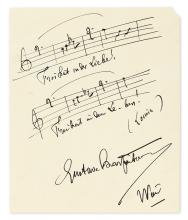CHARPENTIER, GUSTAVE. Autograph Musical Quotation Signed, 8 bars from his opera Louise,