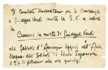 D'ANNUNZIO, GABRIELE. Autograph Note Signed, in the third person within the text, to an unknown recipient (