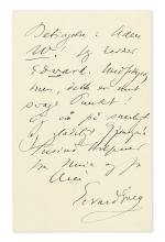 GRIEG, EDVARD. Autograph Letter Signed, to