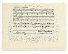 MACDOWELL, EDWARD ALEXANDER. Autograph Musical Manuscript dated and Signed,
