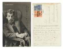 PFITZNER, HANS. Two photograph postcards, each Signed,