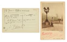 SAINT-SAËNS, CAMILLE. Two postcards: Autograph Musical Quotation dated and Signed,