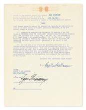 STRAVINSKY, IGOR. Two items: Autograph Letter Signed, agreeing to conduct the Hollywood Bowl Orchestra * Typed Document Signed, addendu