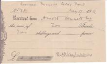 VAUGHAN WILLIAMS, RALPH. Partly-printed Document accomplished and Signed,