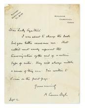 DOYLE, ARTHUR CONAN. Autograph Letter Signed,