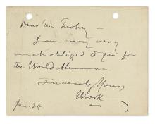 TWAIN, MARK. Brief Autograph Letter Signed,
