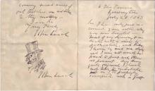 LEECH, JOHN. Autograph Letter Signed, with a small ink drawing Signed, to