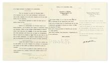 MATISSE, HENRI. Group of 4 items, each to MoMA Director of Exhibitions and Publications Monroe Wheeler: 3 Typed Letters Signed * L'art
