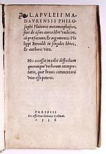 APULEIUS. Metamorphoseos, sive de asino aureo libri undecim.  1536
