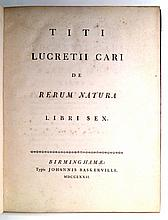 BASKERVILLE PRESS.  Lucretius Carus, Titus. De rerum natura libri sex.  1772