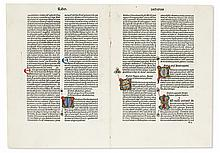 BIBLE IN LATIN.  Group of 2 bifolia and 8 single leaves from the 1479 Vulgate printed by Nicolaus Jenson.