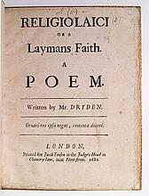 DRYDEN, JOHN. Religio Laici; or, A Laymans Faith. A Poem.  1682