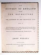 WILKES, JOHN. The History of England from the Revolution to the Accession of the Brunswick Line. Vol. I [all published].  1768