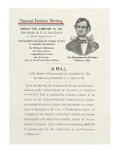NATIONAL MEMORIAL ASSOCIATION. A Bill in the House of Representatives, December 12, 1916 * Two Typed Letters Signed.