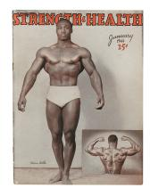 (BODY-BUILDING.) MELVIN WELLS. Silver print photograph, 10 x 7-1/2 inches * Strength and Health Magazine, featuring Melvin Wells.